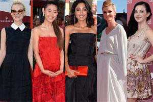 威尼斯电影节红毯抢镜靠清新甜美裙装