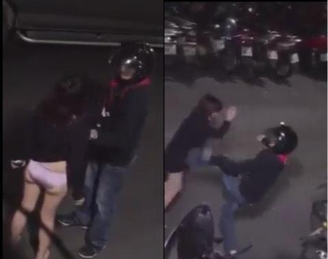 情侣当街吵架互殴 掀衣服踹脚并用