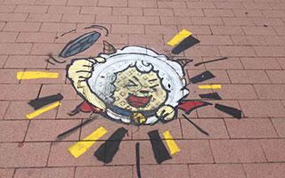 萌得不要不要的沙井盖涂鸦惊现广州街头!今天起,低头走路!