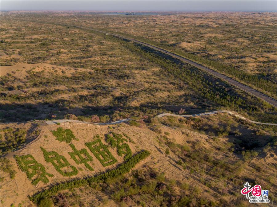 """星星之火,可以燎原,茫茫大漠终成绿洲。人们将""""绿色中国梦""""书写在了这片广袤的沙漠上。乔治· 斯坦梅茨 摄"""