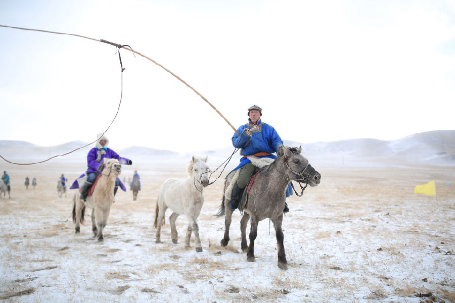 蒙古大汉骑马图矢量图