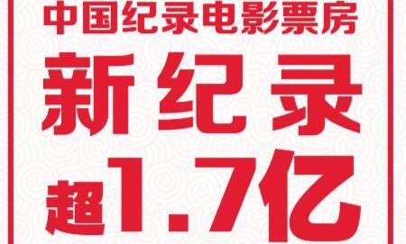 超1.7亿元!这部电影,刷新了中国纪录电影票房的新纪录!