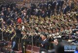 3月3日,中国人民政治协商会议第十二届全国委员会第四次会议在北京人民大会堂开幕。这是军乐团高奏国歌。     新华社记者 杨宗友 摄