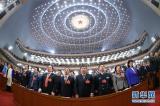 3月3日,中国人民政治协商会议第十二届全国委员会第四次会议在北京人民大会堂开幕。这是委员们高唱国歌。新华社记者庞兴雷摄