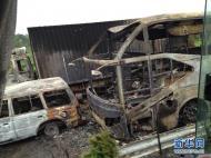 湖南高速两车相撞爆炸 核载53人仅4人逃出