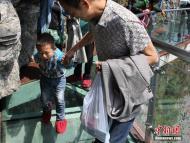 步步惊心!张家界景区海拔1400米玻璃栈道吓哭游客