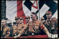 希特勒统治下的德国彩照 纳粹旗帜满街飘扬